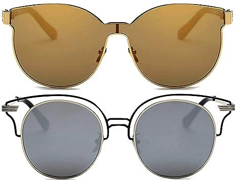 c2c907aa1a 2 pairs Ladies metal frame fashion Cateye Round integral whole lens  transparent one peace Sunglasses Elegant