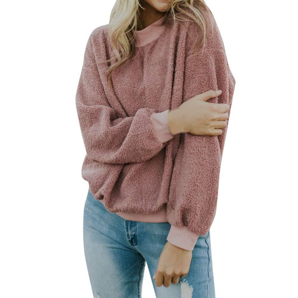 TIREOW Mode Damen Beiläufige Lange Hülse Festes Strickendes Sweatshirt Bluse