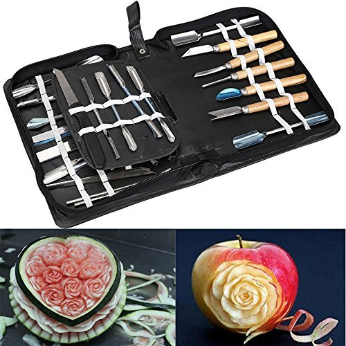 Agile-Shop Culinary Carving Tool Set Fruit Vegetable Food Garnishing / Cutting / Slicing Garnish Tools Kit (46 pcs)