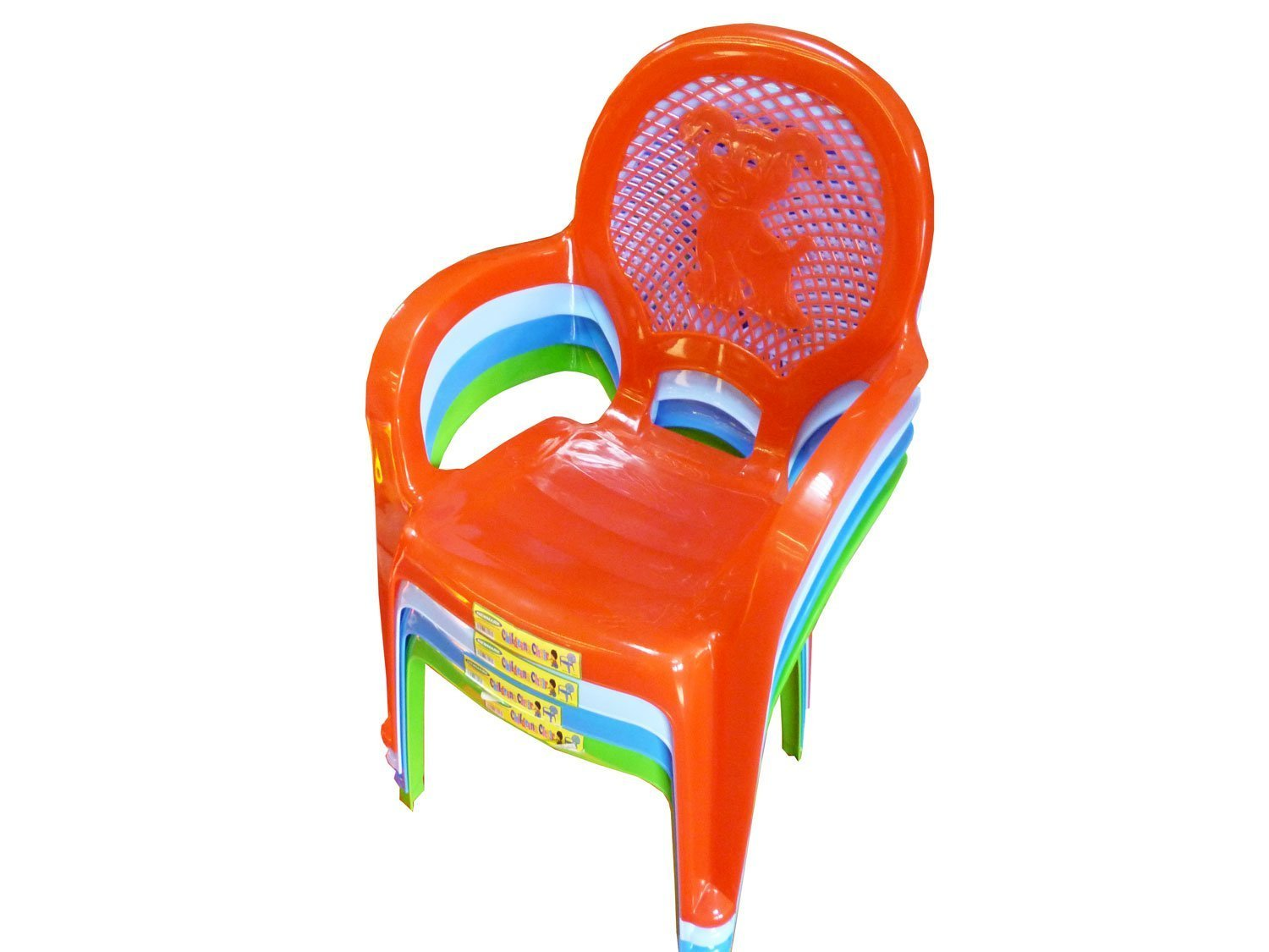 Childrens Kids Plastic Chair / Chairs with Puppy Designed Back - Available in Pink, Red, Green, Blue, Yellow - Choose Your Colour! (Blue) HomeWareNeeds