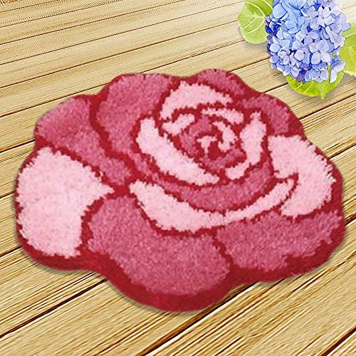 Ylkgogo DIY Crochet Yarn Kits,Needlework Latch Hook Kit Unfinished Crocheting Rug Yarn Cushion Embroidery Carpet Set (Red,19.5X16.5)