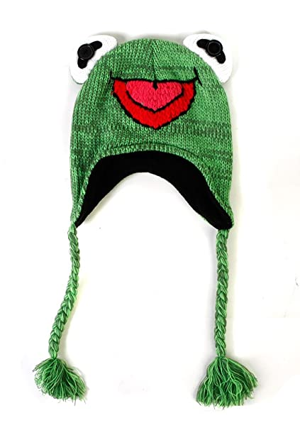 Amazon.com  Muppets Kermit The Frog Knit Peruvian Beanie Hat  Toys ... 9a9eb0ab604
