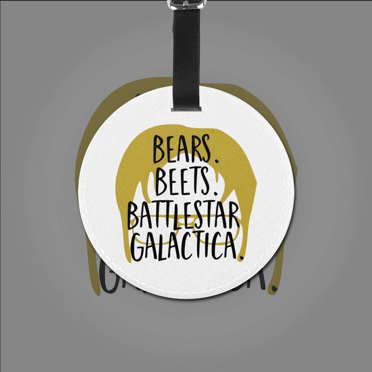 Bears Beets Battlestar Galactica Travel Leather Round Luggage Tags Suitcase Labels Bag