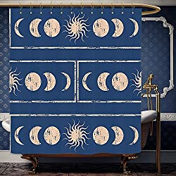 Wanranhome Custom-made shower curtain Sacred Geometrty Decor Grungy Ethnic Design of Planetary with Sun Moon Phases of Mystery Decor Blue Cream For Bathroom Decoration 36 x 72 inches