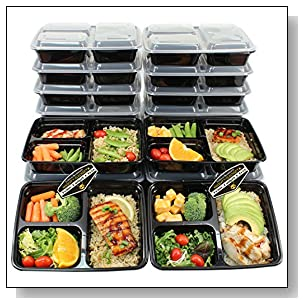 20 Pack x 39 oz. Mighty Gadget (R) 3 Compartment Bento Lunch Boxes with Lids - Stackable, Reusable, Microwave, Dishwasher & Freezer Safe - Meal Prep, Portion Control,?Food Storage Containers
