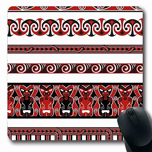 Ahawoso Mousepad Oblong 7.9x9.8 Inches Aotearoa Red Tribal Maori Borders Patterns Abstract Polynesian Koru Tiki Hawaiian Zealand Design Office Computer Laptop Notebook Mouse Pad,Non-Slip Rubber
