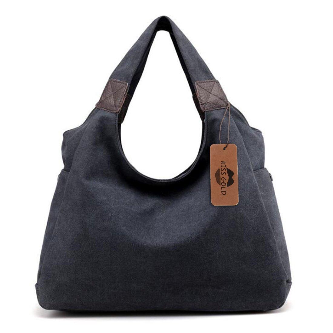 KISS GOLD(TM) Simple Style Canvas Tote Hobo Bag Shopper Handbag For Womens, Model B-Black