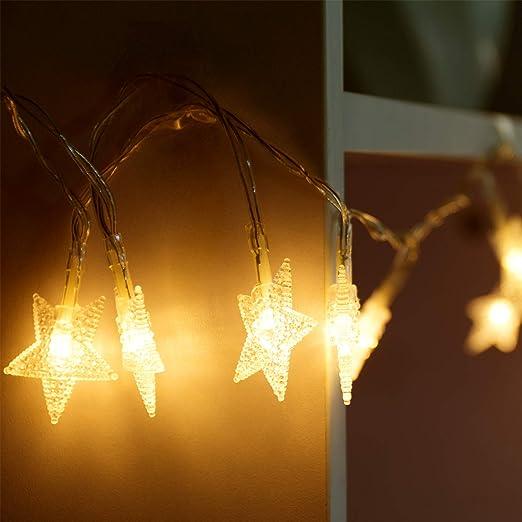 Guirnalda de luces LED String Luz 4 m/13.2ft 40 ledes estrellas guirnalda, de decoración interior y exterior, alimentado por batería LED Estrella Luz para Navidad iluminación Jardín Iluminación (Blanco Cálido): Amazon.es: Iluminación