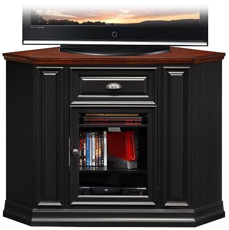 Leick Furniture 46u0026quot; Corner TV Stand In A Black And Cherry Finish