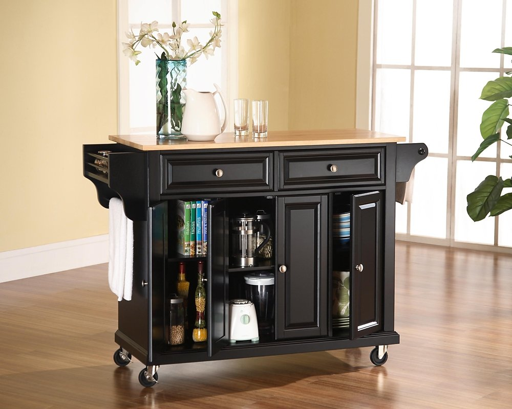 Amazon.com: Crosley Furniture Rolling Kitchen Island With Natural Wood Top    Black: Kitchen U0026 Dining