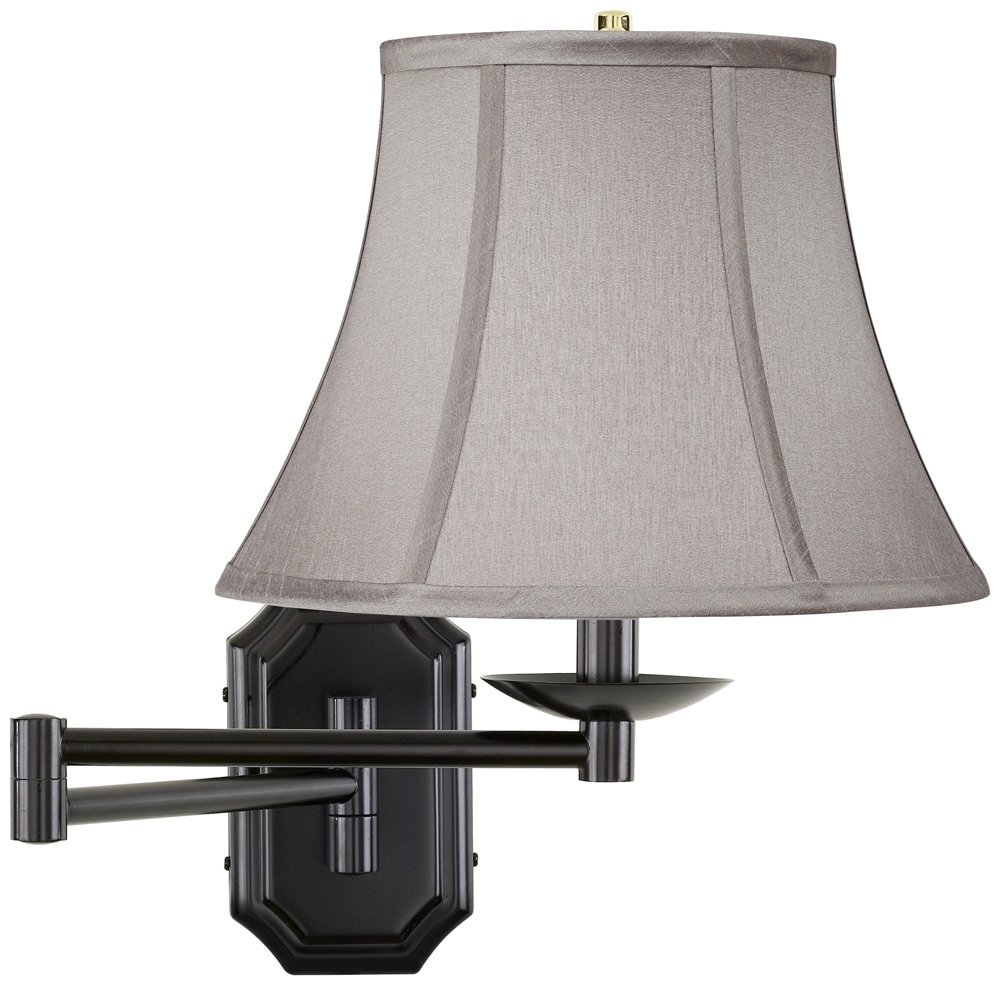 Pewter Gray Bell Dark Bronze Plug-In Swing Arm Wall Lamp by Barnes and Ivy