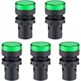 uxcell 5Pcs Green Indicator Light AC/DC 110V, 22mm Panel Mount, for Electrical Control Panel, HVAC, DIY Projects