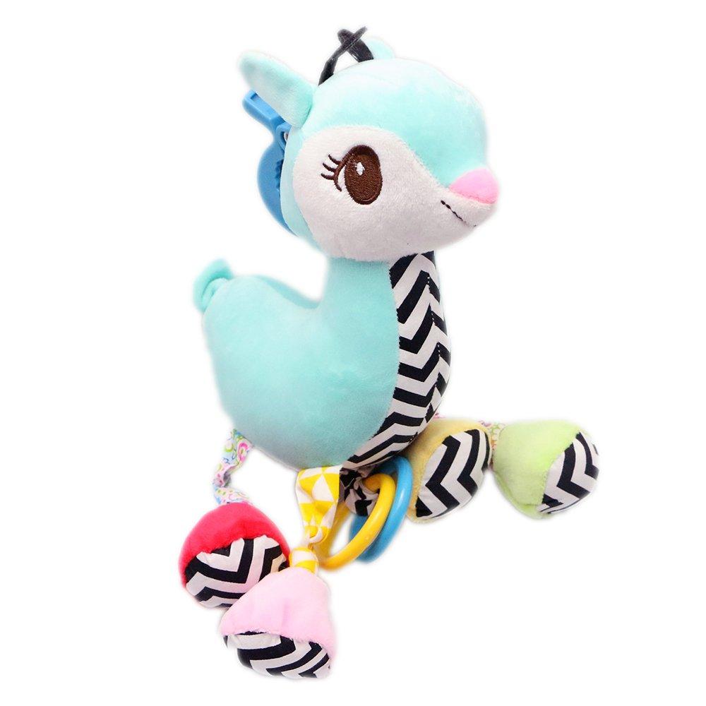 Newin Star Juguetes Colgante con sonidos,Juguetes del Cochecito Silla de paseo y Cama,Colgando Cuna Musical Sonajero,diseño de ciervo bebé Cuna de juguete(azul)