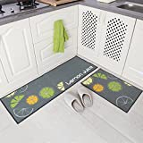 Carvapet 2 Piece Non-Slip Kitchen Mat Rubber Backing Doormat Runner Rug Set, Lemon Design (Grey 15''x47''+15''x23'')
