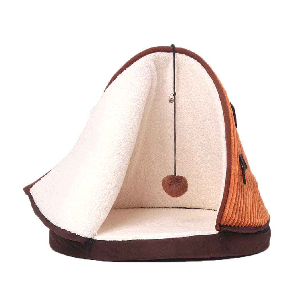 orange PLDDY Cat Nest, Pet Bed, Triangle 360° Wrapped Deep Sleep, Four Seasons Usable, Removable And Washable, Warm Lamb Cashmere, Moisture-proof Oxford Cloth Cat Sleeping Bag, Cat Bed (color   orange)
