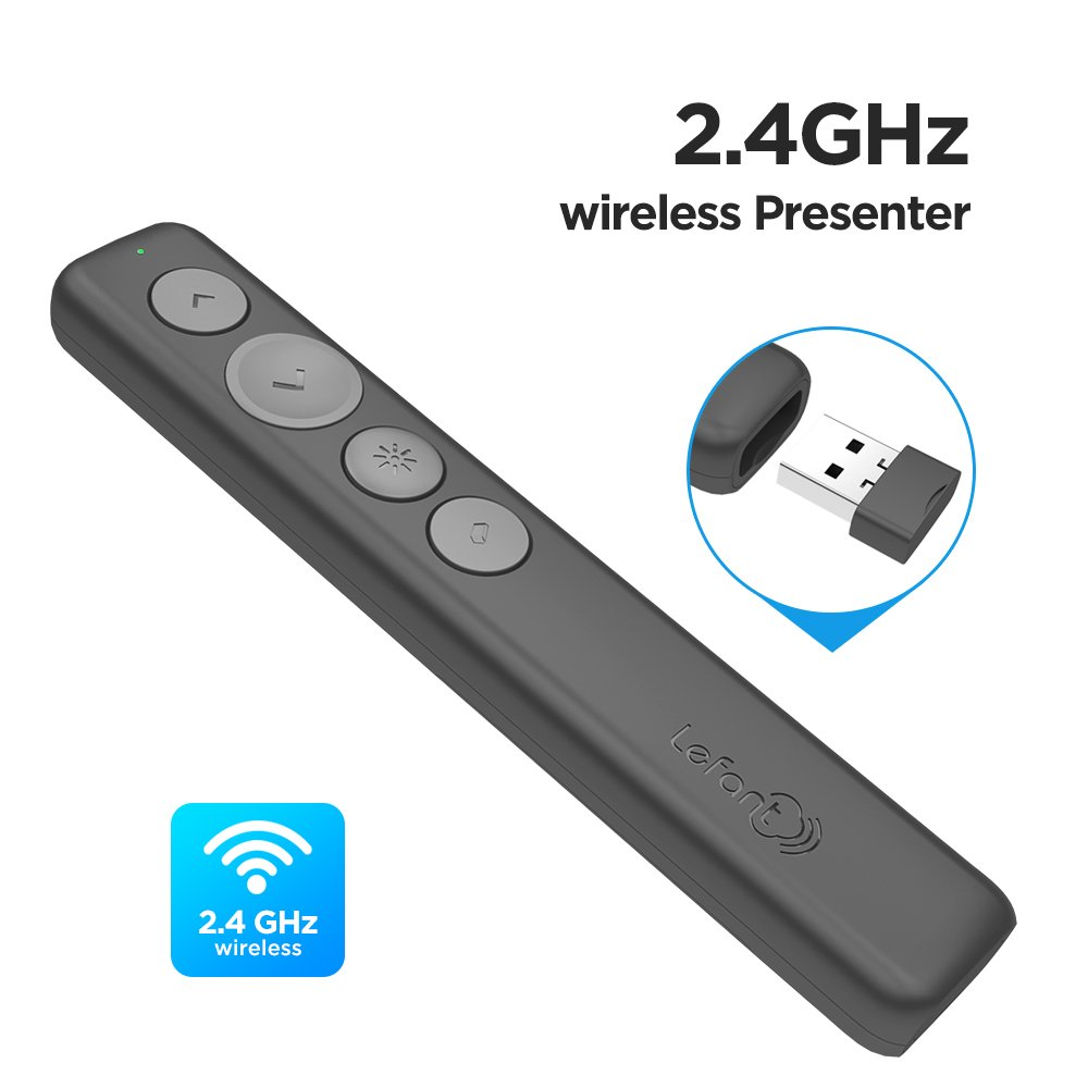 Lefant F0 Wireless Powerpoint Presenter 2.4GHz Powerpoint USB Presentation Clicker Remote Control with Red Laser Pointer for Switch Pages Hyperlink Volume Control in PPT Keynote Prezi (Black) by Lefant