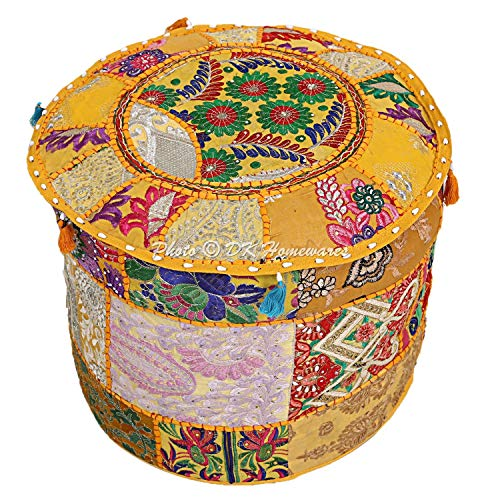 (DK Homewares Indian Vintage Patchwork Pouf Ottoman Cover Mango Yellow Round Bean Bag Decorative Tuffet Cotton Embroidered Pouffe Footstool Floral Traditional 16x16x13)