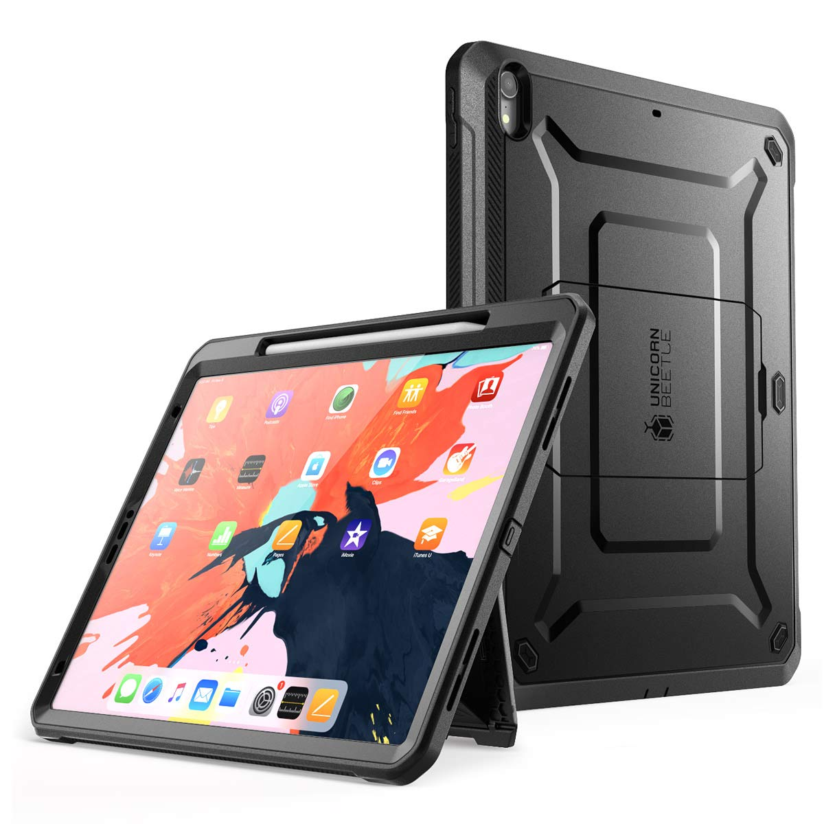 SUPCASE Support Apple Pencil Charging with Built-in Screen Protector Full-Body Rugged Kickstand Protective Case for iPad Pro 12.9 2018 Release- UB Pro Series (Black)
