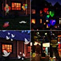 LED Projector Light, 12 Exclusive Design Slides IP65 Waterproof Landscape Motion Projector Lights with Remote Control, 16ft Power Cable for Decoration Lighting on Christmas Halloween Holiday Party