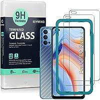 Ibywind [Pack van 2] Gehard Glas voor Oppo Reno 4 5G,met Back Carbon Fiber beschermfolie,inclusief Uitlijning Frame