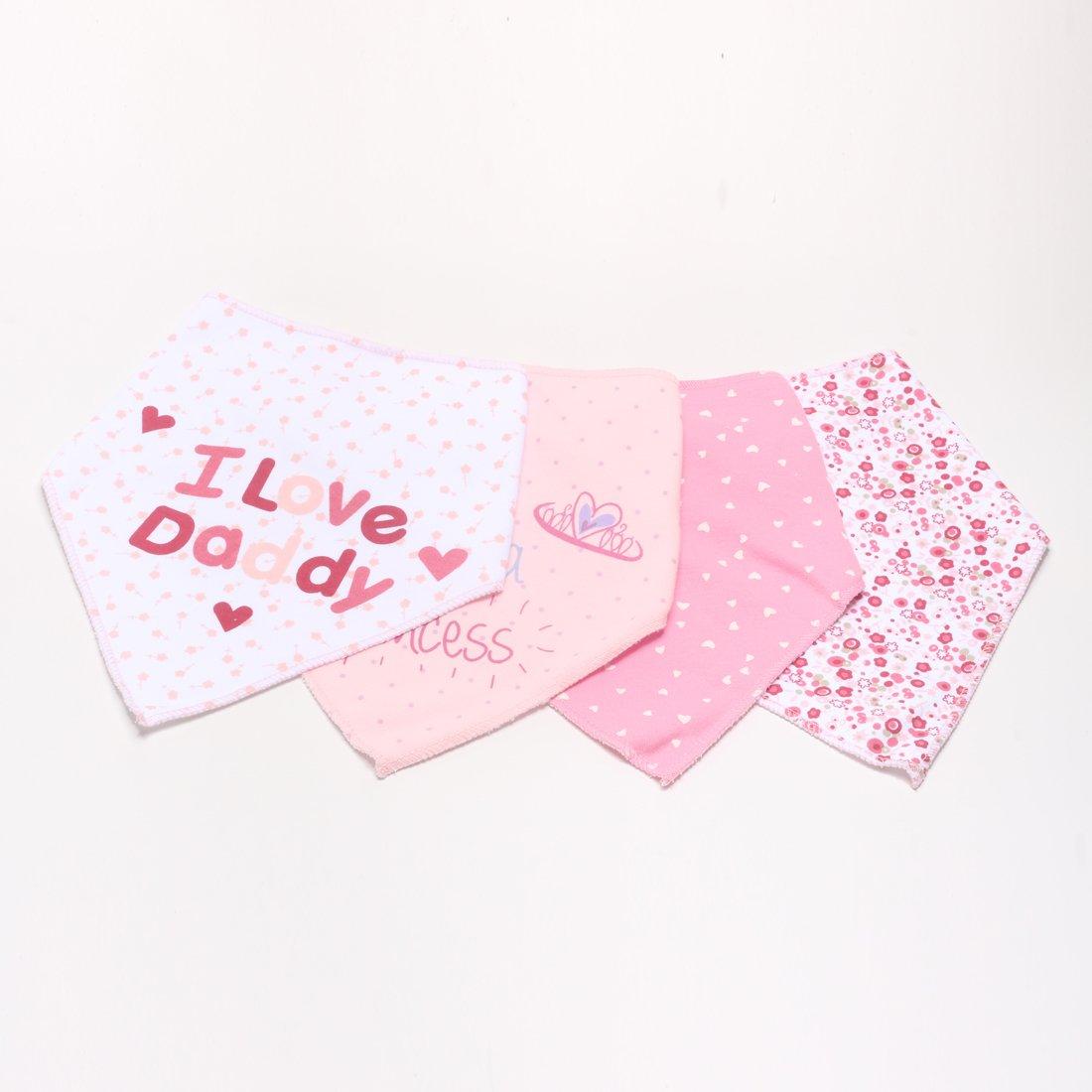 Kolamom Baby Bandana Drool Bibs 4 Pack 100% Absorbent Cotton I Love Daddy Set