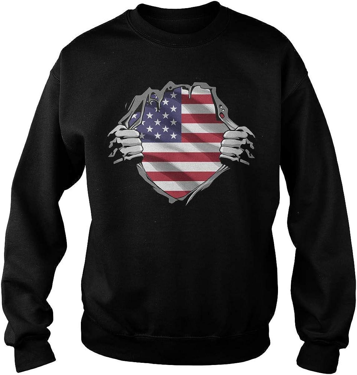 Poogky American Superheroes Adult Crewneck Sweatshirt