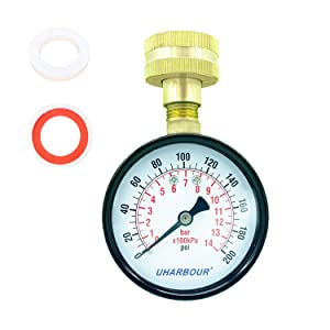 "UHARBOUR Water Pressure Gauge 200psi/14bar, 2-1/2"" Dial,Steel case, Brass Inside Construction, Standard Female 3/4""NPT Rear Connection for Garden Hose Thread, Includes Seal Tape."