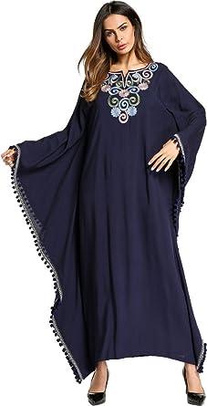 0f45ff7ea36723 Ababalaya Damen Casual Weich Ethnischer Stil Stickerei Langarm Fledermaus  Muslimisch Islamisch Lange Maxi Abaya Kleid  Amazon.de  Bekleidung