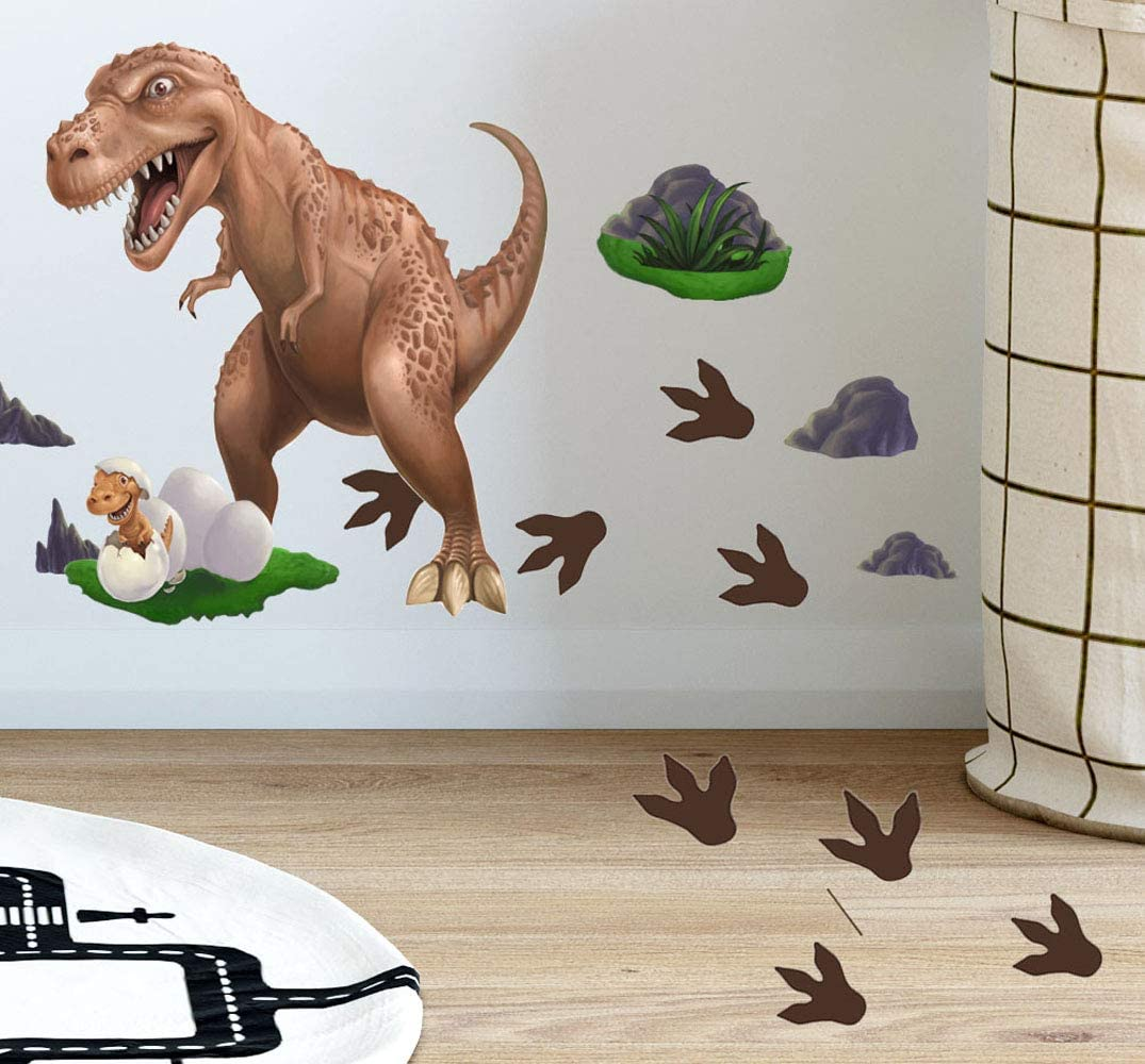 Dinosaur Wall Stickers T-Rex Daddy n' Baby Footprints Wall Decals, Boys Wall Stickers, Kids Room Decorative Peel & Stick Wall Art Bedroom, Playroom, DIY Easy Peel n' Stick Room Decor for Children