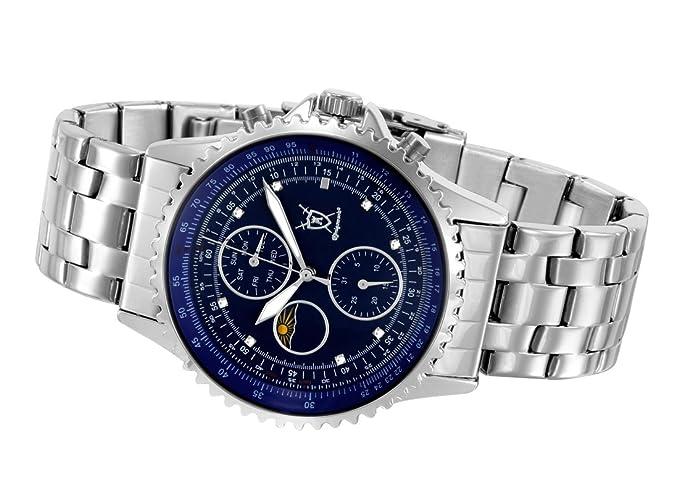 Amazon.com: Konigswerk Mens Silver Tone Stainless Steel Bracelet Watch Multifunction Blue Dial SQ201450G: Konigswerk: Watches