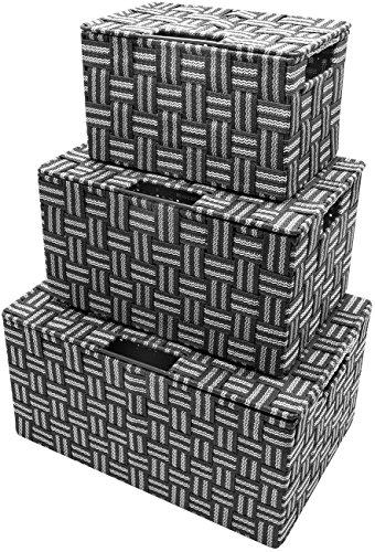 Sorbus Storage Box Woven Basket Bin Container Tote Cube Organizer Set Stackable Storage Basket Woven Strap Shelf Organizer Built-in Carry Handles (Gray Pattern)