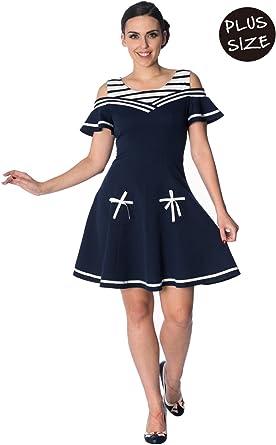 Banned Set Sail 2 Fer Plus Size Nautical Retro Dress at ...