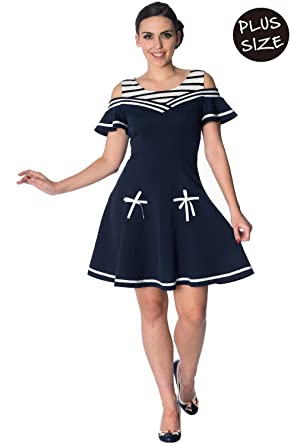 Banned Set Sail 2 Fer Plus Size Nautical Retro Dress at Amazon ...