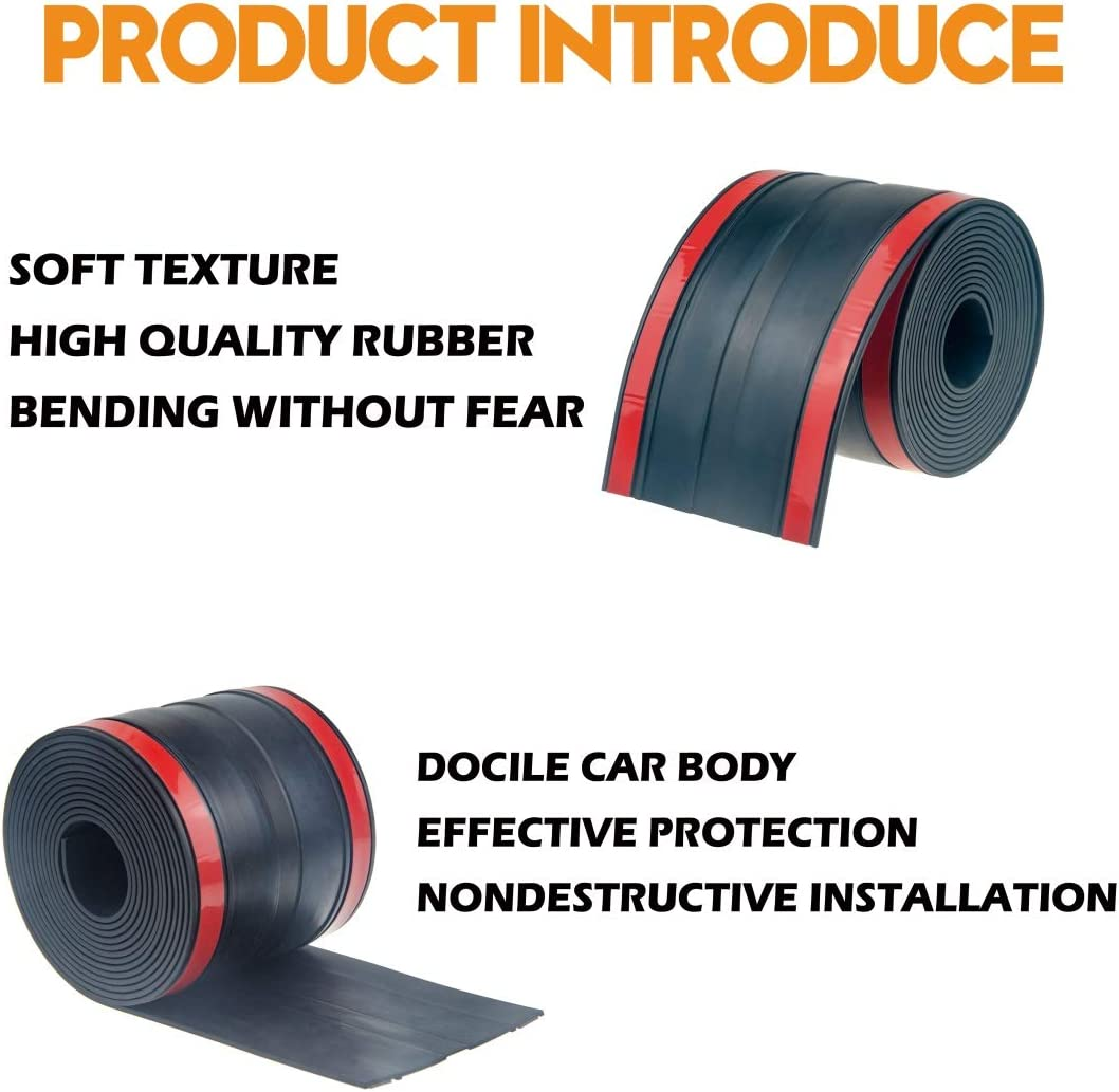 PAPILLON Adhesive Universal Rubber Truck Bed Tailgate Gap Cover Filler Seal Shield Lip Weather Stripping Cap Seal Kit 4.25 /× 11/′ Black
