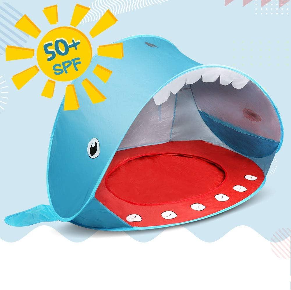 Opret Tienda Playa Bebe, Pop-up Tiendas de Campaña con Piscina para Niños Carpa Plegable Portátil Anti UV 50+ Protector Solar, Estilo de Ballen