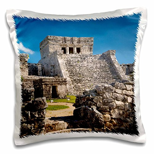 - 3D Rose Ruins of The Mayan Temple Grounds at Tulum Yucatan Mexico Pillow Case, 16
