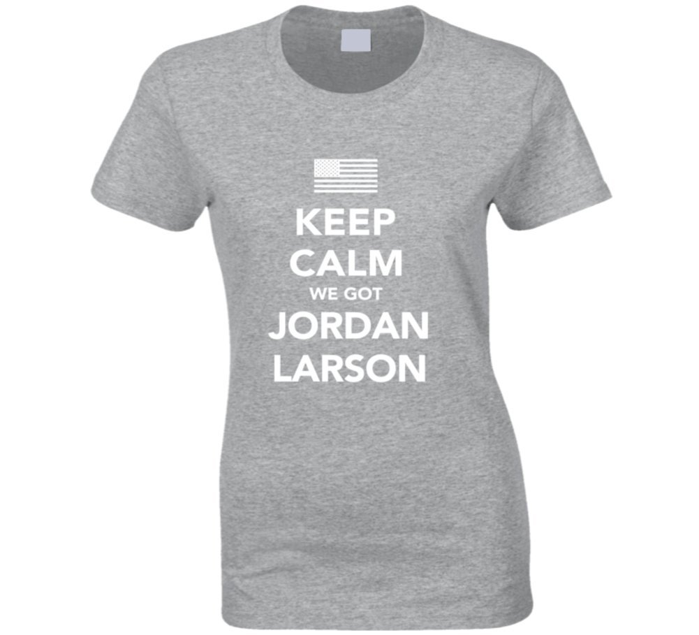 Jordan Larson Keep Calm USa 2016 Olympics Volleyball Ladies T Shirt 2XL Sport Grey