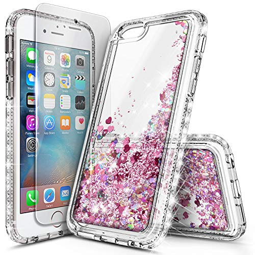 iPhone 5S Case, iPhone SE/5 Case with Screen Protector for Girls Women Kids, NageBee Glitter Liquid Sparkle Bling Floating Waterfall Quicksand Diamond Cute Durable Case for iPhone 5/5S/SE -Rose Gold