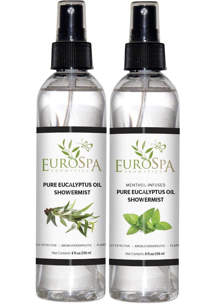 EuroSpa Aromatics Pure Eucalyptus Oil ShowerMist and Steam Room Spray, All-Natural Premium Aromatherapy Essential Oils - Variety Pack, 8 oz