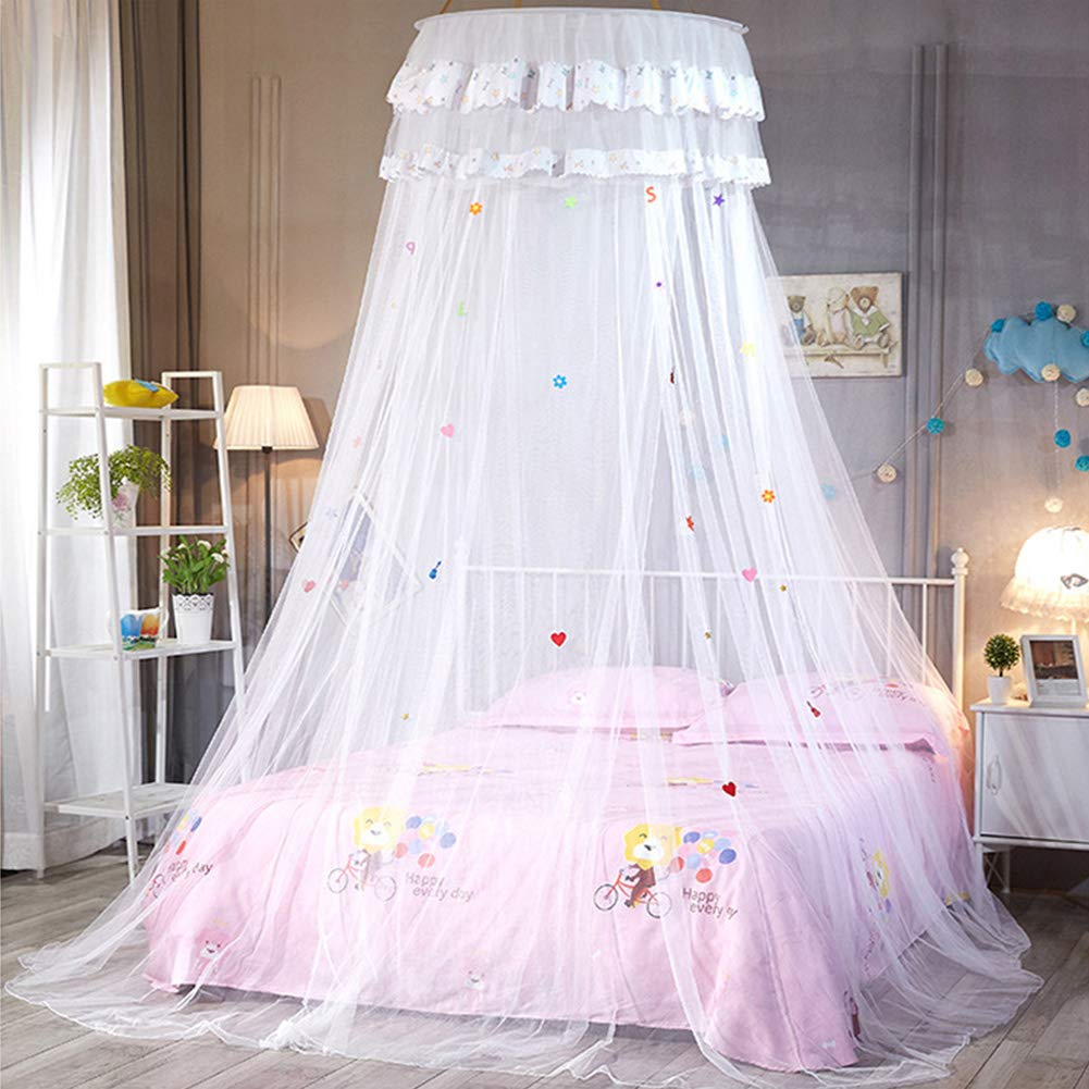 Mosquito Net Blue Breathable Mesh Lace Princess Round Dome Heightened Hanging Insect Protection Anti-mosquito Net Bed Canopy with Finest Holes for Girl Kids Bedroom