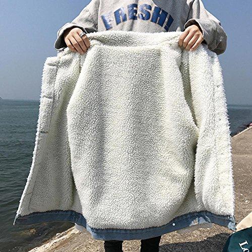 acolchada denim cálida gruesa denim cashmere mujer chaqueta chaqueta plus xl manga casual Chaqueta otoño solapa TT larga amp;NIUZAIKU invierno femenino 6EqFFwgP
