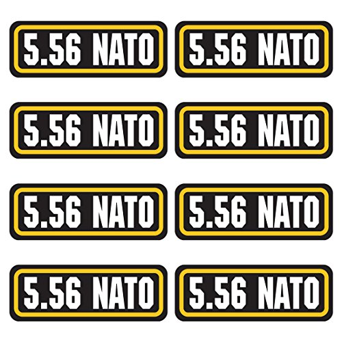 Price comparison product image 5.56 NATO ammo sticker 8 PACK - LAMINATED Can Box Vinyl Decal bullet ARMY Gun safety Hunting label
