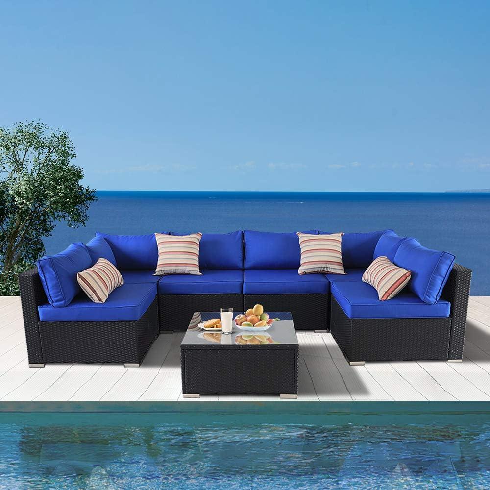 Outime Patio Furniture Sofa Outside Couch PE Black Wicker 7pcs Garden Sectional Rattan Sofa Set Conversation Sets Party Sofa Royal Blue Cushion
