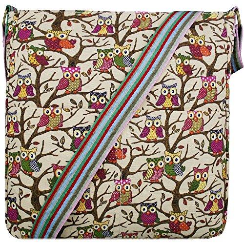fille Papillons et fleurs Motif toile pois Owl Beige Sac en pour txyZnpcW1q