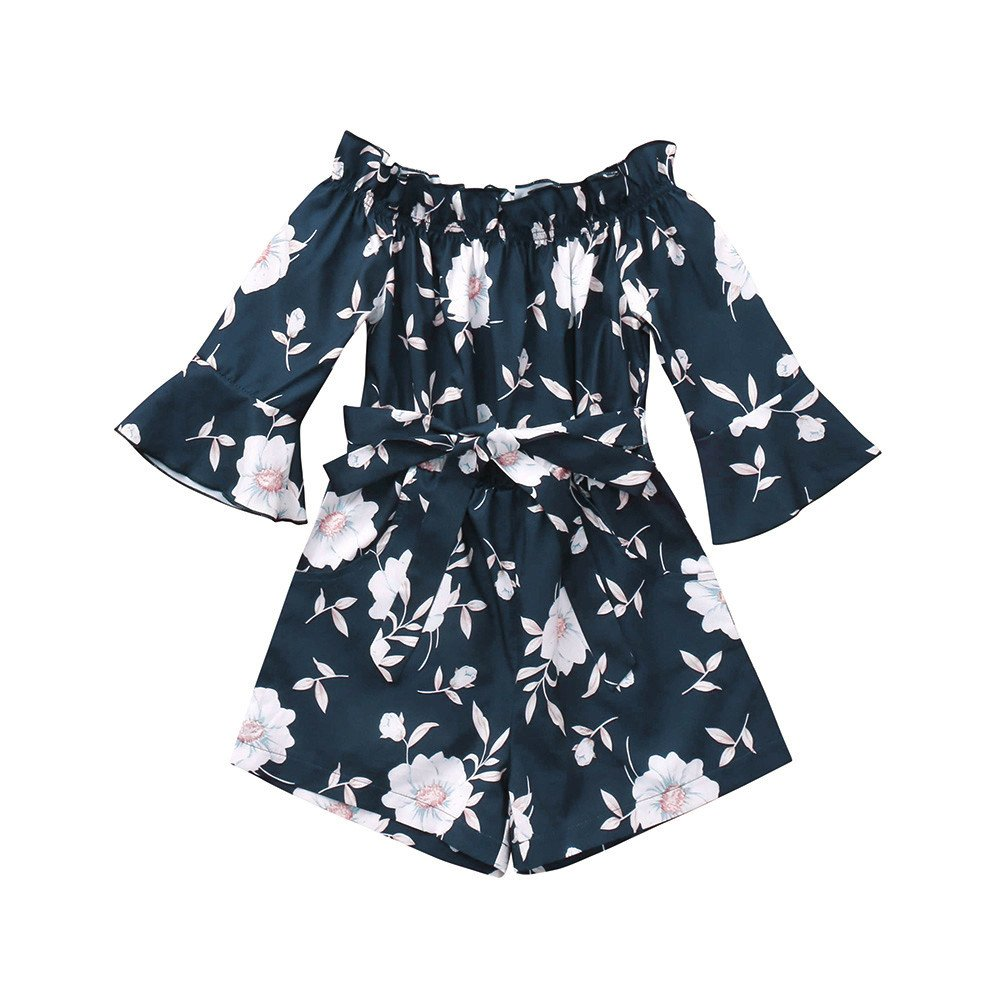 Hatoys Mom and Me Floral Half Sleeve Off Shoulder Dress Family Matching Clothes Romper Jumpsuit Outfit