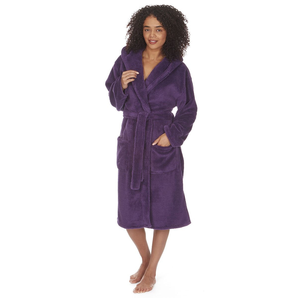 Ladies Women's Soft Flannel Fleece Hooded Snuggle Dressing Gown Robe Nightwear Forever Dreaming