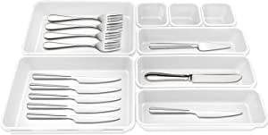 Kitchen Drawer Organizer, Expandable Cutlery Drawer Trays, Flatware Drawer Organizer for Silverware, Utensil Holder With Locking Expandable Wings, Multi-Purpose Storage for Kitchen, Office (White)