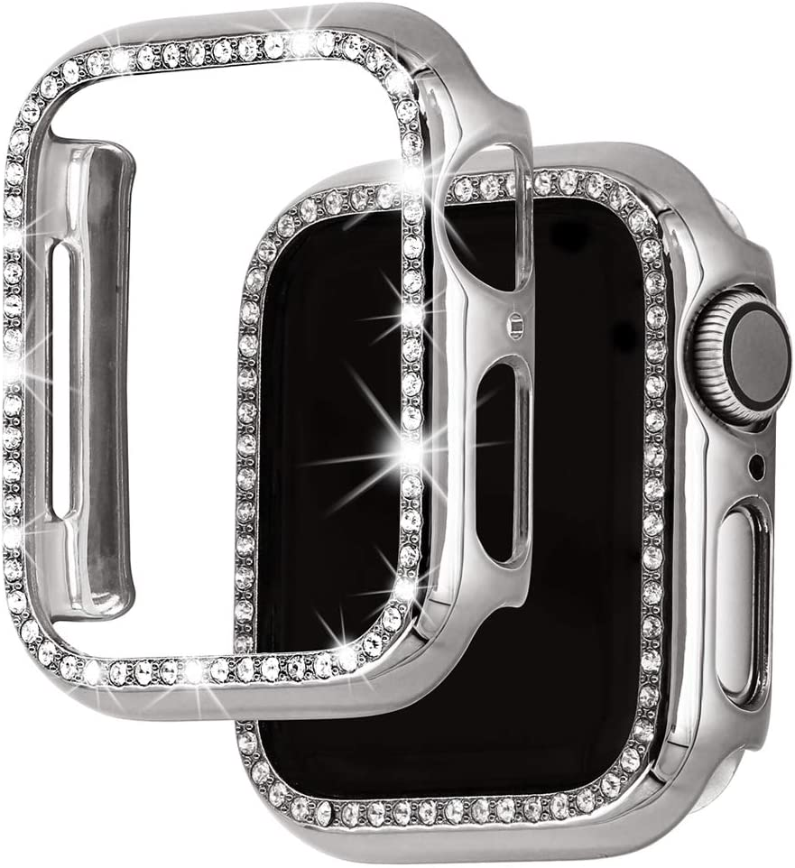 Falandi Bling Case Compatible with Apple Watch Case 44mm, Diamonds Shiny Rhinestone PC Plated Hard Protective Cover Frame for iWatch Series 6 / SE / 5 / 4 Women Girls, Silver 44mm