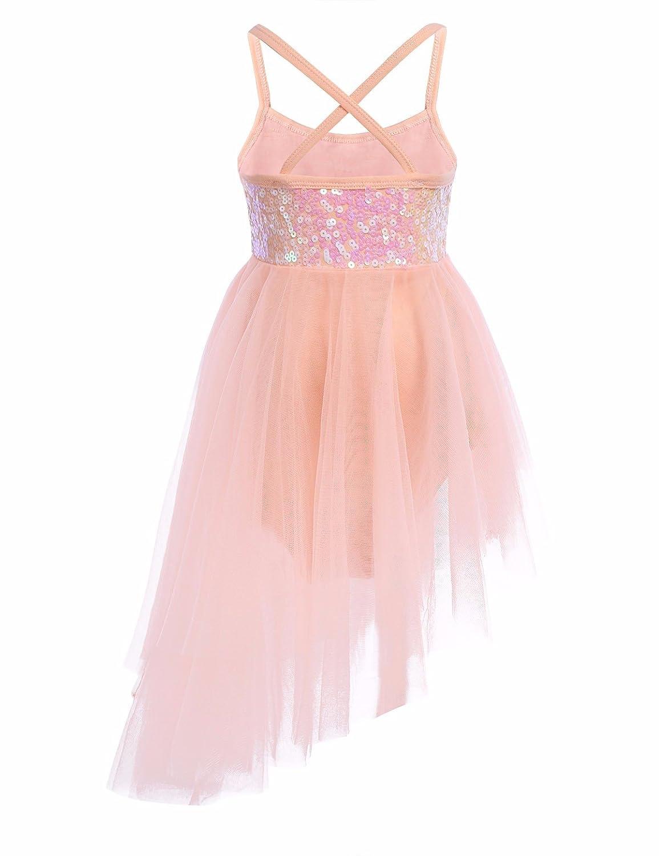 FEESHOW Girls Kids Sequined Irregular Lyrical Dance Dress Ballerina Leotard  Ballet Ballroom Dancewear Costume Orange 12 Years  Amazon.co.uk  Sports    ... 2fe82bd7d087