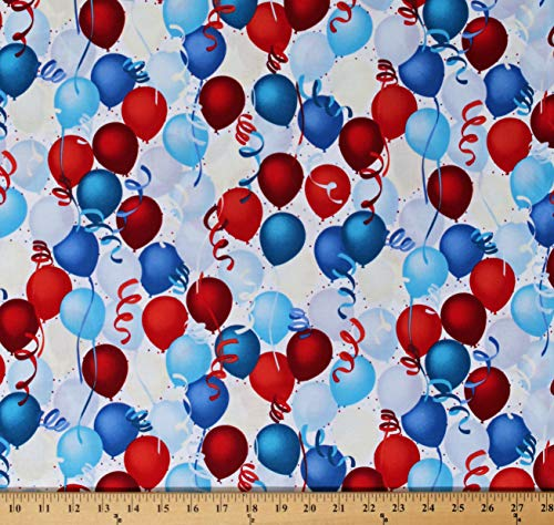 Cotton Patriotic Balloons Confetti Streamers Fourth of July Independence Day Celebration Party Decorations Red White and Blue Cotton Fabric Print by The Yard (D373.28)